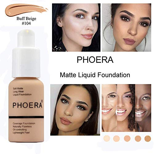 Pearl Finish Porcelain - Foundation Makeup, PHOERA New 30ml Matte Oil Control Concealer Foundation Cream, Long Lasting Waterproof Matte Liquid Foundation (104 Buff Beige)