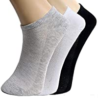 St. Lun 5 Pairs Summer Men Ankle Socks Low Cut Crew Casual Sport Cotton Blend Socks Soft,Variation:5 Pairs/Gray
