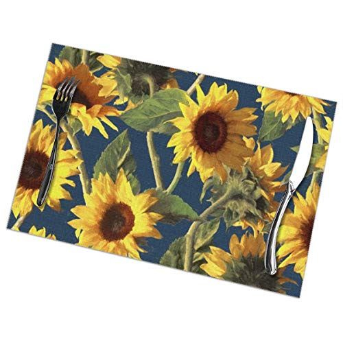 LALACO-Design Sunflowers On Dark Blue Placemats Set of 6 Washable Table Mats 12x18 Inch