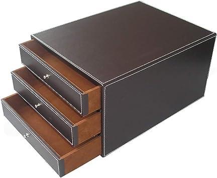Organizadores de cajones de Oficina Caja de Almacenamiento de Datos de Escritorio de 3 cajones Gabinete de Oficina de Cuero 25 * 33 * 17 cm Caja de Almacenamiento (Color : Brown): Amazon.es: Electrónica