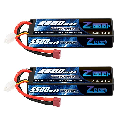 Zeee 5500mAh 7.4V 60C 2S Hard case LiPo Battery Packs with Deans T Plug Connector for RC 1/8 1/10 Scale Vehicles Car,Trucks,Boats (2 Pack)
