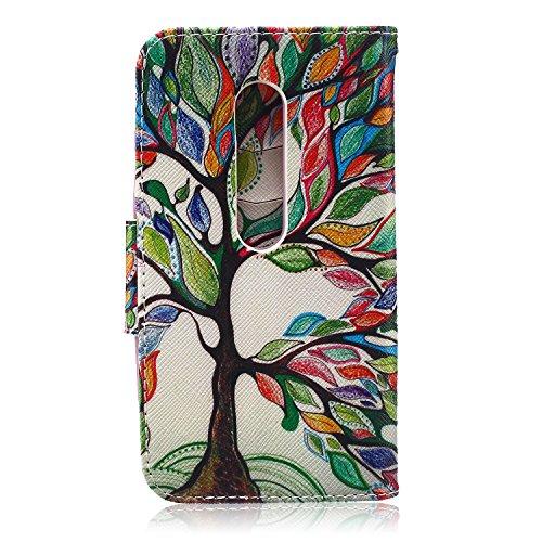Funda para Huawei P8 Lite, Flip funda de cuero PU para Huawei P8 Lite, Huawei P8 Lite Leather Wallet Case Cover Skin Shell Carcasa Funda, Ukayfe Cubierta de la caja Funda protectora de cuero caso del  Colorful Tree