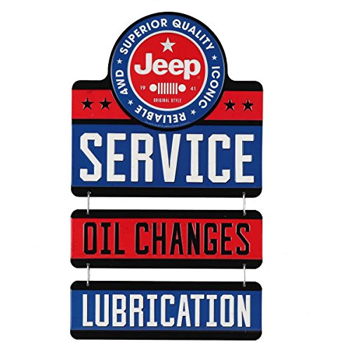 Open Road Brands Jeep Service Linked Embossed Metal Sign