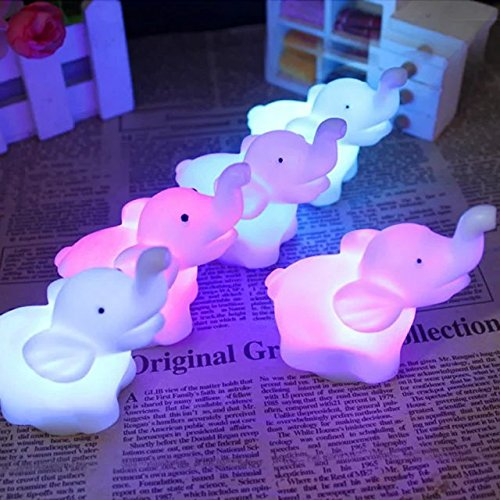 Price comparison product image Sealive Cute Animal Elephant LED Night Light 7 Color Changing Romantic Lamp with Battery Party Bedroom Decor 2Pcs