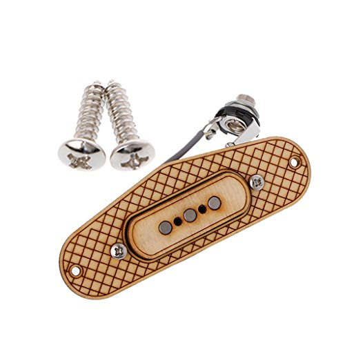 ULKEME 3 Poles Maple Pickup+Surround Frame+Jack Socket Wire for 3-String Cigar Box New by ULKEME