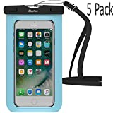 Waterproof Case,5 Pack iBarbe Universal Cell Phone Dry Bag Pouch Underwater Cover for Apple iPhone 7 7 plus 6S 6 6S Plus SE 5S 5c samsung galaxy Note 5 s8 s8 plus S7 S6 Edge s5 etc.to 5.7 inch,skyblue