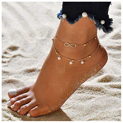 Eternal-Z Women Lucky Lariat 8 Faux Pearl Anklet Bracelet Fashion Beach Beads Foot Chain Jewelry for Girls (Gold) ()