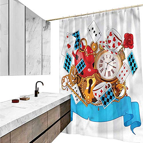 Jiahong Pan Alice in Wonderland,Colorful Chic Shower Curtain Fantasy World for Bathroom,Multicolor,W36 xL72]()