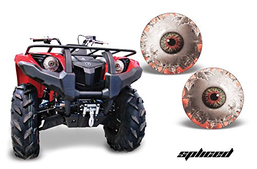 (AMR Racing ATV Headlight Eye Graphic Decal Cover for Yamaha Grizzly 660/450/400/350/125 - Spliced)
