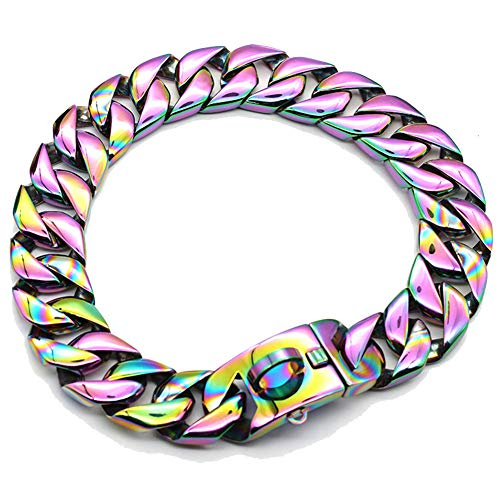 MUJING 30 mm Wide Hip Hop Electroplated Rainbow Colored Tone Cut Curb Cuban Link 316L Stainless Steel Dog Choke Chain Collar 40-70 cm,XXXXL by MUJING (Image #5)