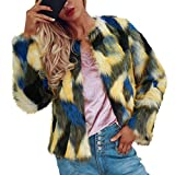 Limsea 2018 Womens Ladies Faux Fur Coat Winter Warm Gradient Color Outerwear Jacket (Yellow,X-Large)