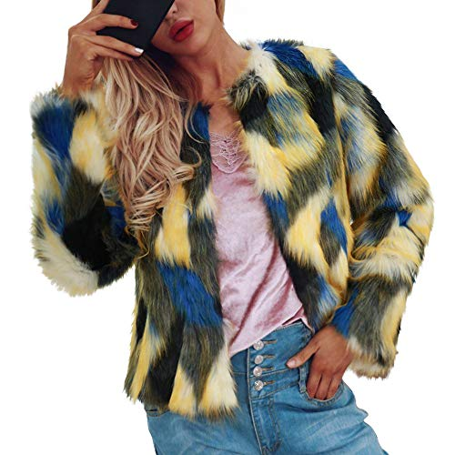 Clearance Sale! ANJUNIE Fluffy Faux Fur Jacket,Womens Ladies Warm Coat Winter Gradient Color Parka Outerwear(Yellow1,XL)