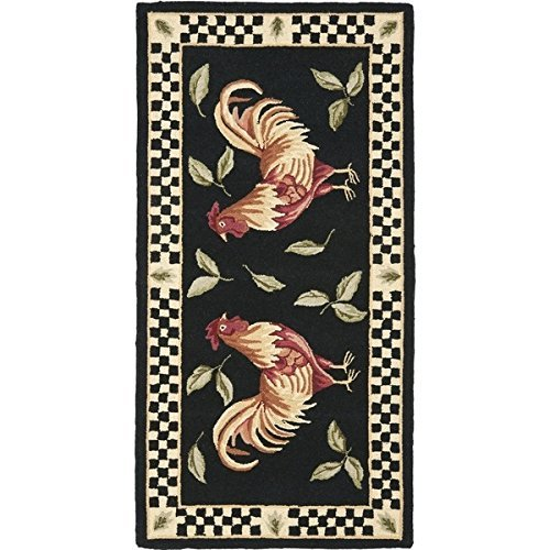 OTSK 2'6'' x5' Black Ivory Red Rooster Checkered Chessboard Printed Runner Rug, Vibrant Color Soft Wool Colorful Rich Design, Indoor Animal Pattern Living Room Rectangle Carpet, Themed