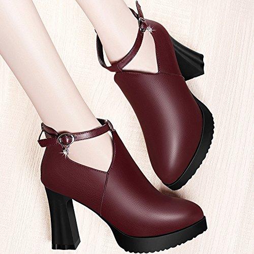 Jqdyl Tacones Zapatos de mujer Zapatos de tacón alto de tacón alto de primavera con zapatos gruesos, 37,6D Rojo 37|6D red