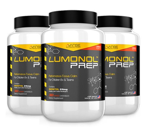 Brain Nutrients (3 Bottles Lumonol Prep (90ct): Focus Supplements for Children, Multivitamin & Neuro Nutrients (Brain Power & Function). Contains Vitamin B6 & No Caffeine. Tasty chewables)