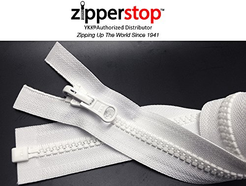 ZipperStop Wholesale YKK® - Vislon Jacket Zipper Reversible Slide YKK® #5 Molded Plastic Separating End - Color WHITE Custom Length (18 Inches)