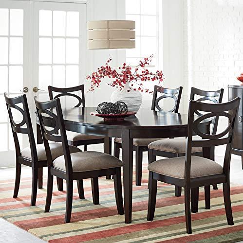 FurnitureMaxx Elijah Merlot Finish Wood Dining Set, Table and 6 Chairs (Set Dining Merlot Room)