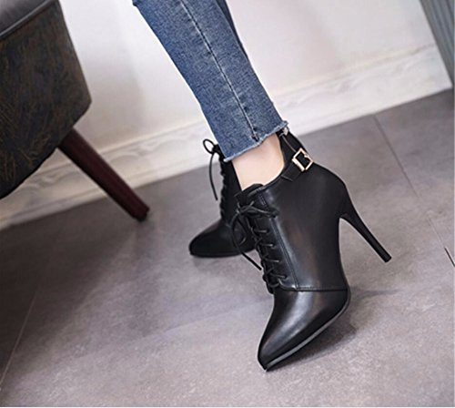 KHSKX-Black 10Cm Strap Boots The Tip Of The Autumn And Winter New Women Shoes Belt Clip Side Zip Slim High-Heeled Boots And Bare Boots Female 39 ppqaNi8