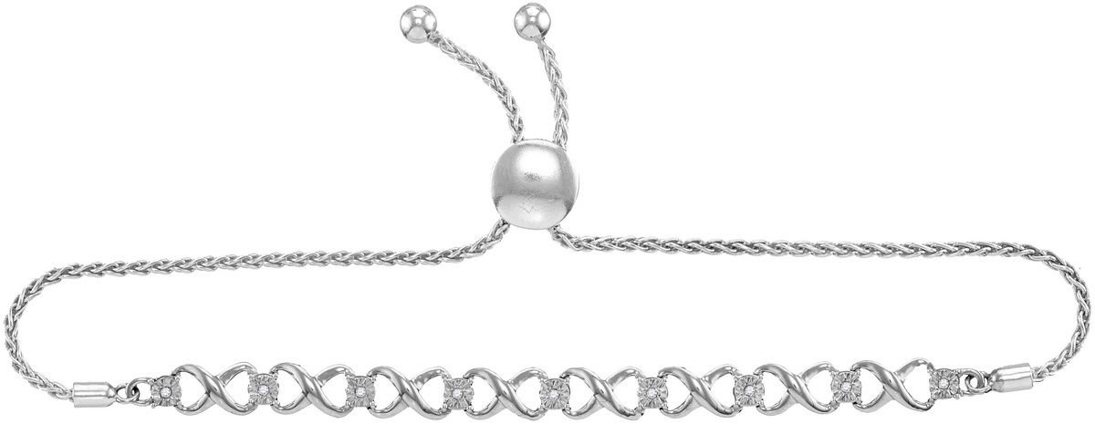 Sterling Silver Womens Round Diamond Bolo Infinity Bracelet 1/20 Cttw