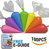 Ternola Disposable Piping Bags [100 Pack 16''] Perfect for Royal Icing and Cookies Decoration + E-GUIDE
