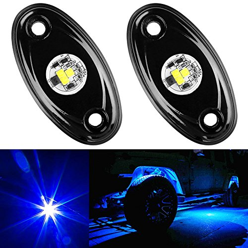 Amak 2 Pods LED Rock Lights Kit Blue Underbody Glow Trail Rig Light Waterproof Underglow LED Neon Lights for JEEP Off Road Trucks Car ATV SUV Vehicle Boat - Blue