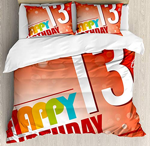 13th Birthday Flannel Fleece Duvet Cover with Pillow Shams Set Retro Style Teenage Party Invitation Graphic Design with Bokeh Effect Rays Luxury Soft Bedspread Bedding Flat Sheet Sets Zipper Closure