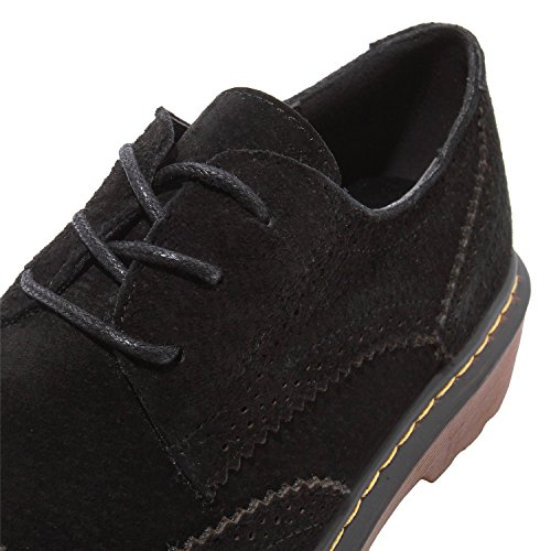 Shoes Toe Full Suede Classic Flats Brogue Black Derby Lady¡¯s Smilun Round qXwSn7Hgg