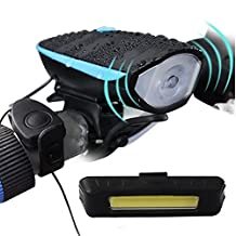 Bike Light, Arespark Super Bright Waterproof Bicycle Light, 550 LM USB Rechargeable Front and Rear Bike Light Set, with 120 DB Loud Horn, 1200mah Lithium Battery, 3 Light Mode Options