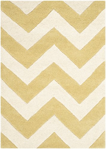 Safavieh Chatham Collection CHT715L Handmade Light Gold and Ivory Premium Wool Area Rug (2' x 3')