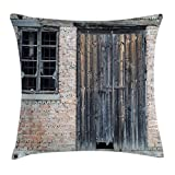 Lunarable Street Throw Pillow Cushion Cover, Old Abandoned House Facade with Brick Wall Decayed Timber Window Frame and Door, Decorative Square Accent Pillow Case, 36 X 36 inches, Multicolor