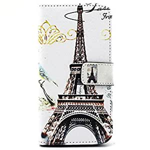 qyf Paris Tower Pattern PU Leather Full Body Case with Stand and Card Slot for Samsung Galaxy E7/E700