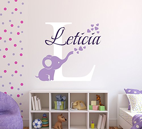 Personalized Elephant Hearts Name Wall Decal - Elephant Baby Room Decor - Nursery Wall Decals - Hearts Wall Decal Vinyl Sticker Decalzone ()