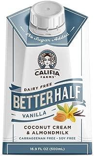product image for Califia Farms Vanilla Better Half Coffee Creamer, 16.9 Oz | Coconut Cream and Almondmilk | Half & Half | Keto | Dairy Free | Plant Based | Nut Milk | Vegan | Non-GMO