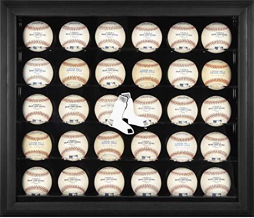 (Sports Memorabilia Boston Red Sox (2009-Present) Logo Black Framed 30-Ball Display Case - Baseball Logo Display Cases )