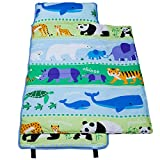 Wildkin 100% Cotton Nap Mat, Olive Kids by Children's Cotton Nap Mat with Built in Blanket and Pillowcase, Pillow Insert Included, 100% Cotton, Children Ages 3-7 years – Endangered Animals