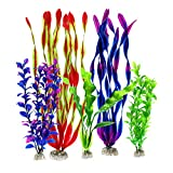 Zivisk Aquarium Fish Tank Decorations Large Aquarium Home Decor Artificial Aquatic Plants - Plastic Vivid Simulation Plant Creature Aquarium Landscape Assorted Color - 5Pcs