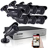 ZOSI 8-Channel HD-TVI 1080P Lite Video Security System with 8x 1280TVL 720P Weatherproof Bullet Surveillance Camera NO Hard Drive ,42pcs IR Leds, 120ft(40m) Night Vision (Aluminum casing)