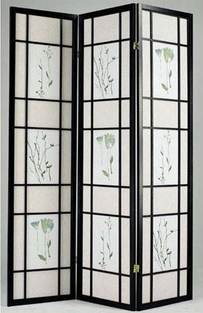 acme Room Divider Panel with Floral Print in Black Finish