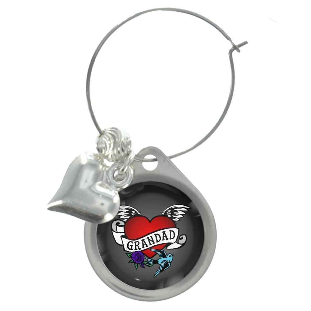 Tatuaje de corazón abuelo vino encanto de cristal con perlas ...