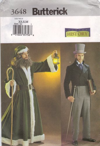 Butterick Making History Pattern 3648 for Robe, Jacket, Pants & Hat, Men's Sizes XS,S,M