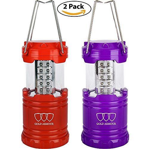 LED Lantern, Ultra Bright Camping Lantern for Hiking, Emergencies, Hurricanes, Outages, Storms, Camping and Multi Purpose (Red and Purple, 2 Pack)