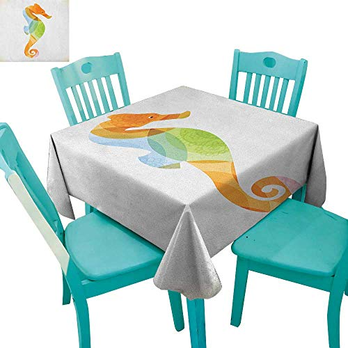 longbuyer Animal,Printed Tablecloth,Silhouette of Sea Creature with Coral Reef Patterns Inside Aquarium Icon Print,70
