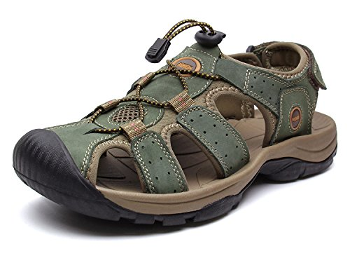 - YoCool Mens Fisherman Sandals Leather Closed Toe Casual Beach Water Sandal 1365-40/KA