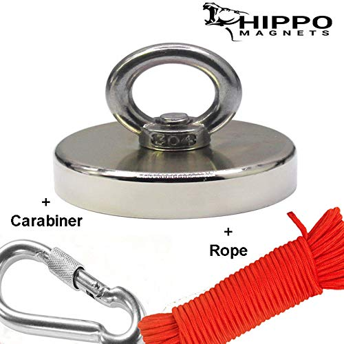 Neodymium Magnet Kit - Fishing Magnet with Rope & Carabiner - 500 LBS Pull Force Neodymium Magnet KIT for Magnet Fishing, 2.95