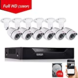Tonton 8CH Full HD 1080P Security Camera System, Surveillance DVR with 1TB Hard Drive and (6) 2.0MP 1920TVL Waterproof Outdoor Indoor CCTV Bullet Camera with Face Notification and Clear Night Vision For Sale