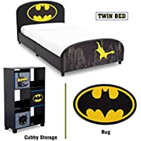 Delta Children - Batman Twin Furniture Set, 3-Piece by DC Comics (Batman Upholstered Twin Bed | Storage Unit with 6 Cubbys and Batman Bins | Batman Area Rug)