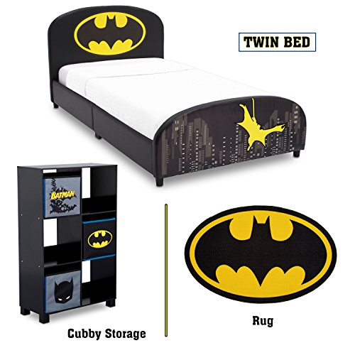 Delta Children - Batman Twin Furniture Set, 3-Piece by DC Comics (Batman Upholstered Twin Bed | Storage Unit with 6 Cubby's and Batman Bins | Batman Area Rug)