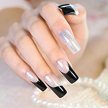 Amazon.com : CoolNail New French 24pcs Silver Slitter Square False Nails Long Full Artificial Nails Black Clear with Powder Faux Ongle Naturelle : Beauty