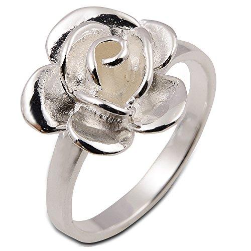 Rose Flower White Ring 925 Sterling Silver (8)