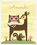 122P Personalized Name Girl Deer and Squirrel UNFRAMED Wall Art Print by Lee ArtHaus